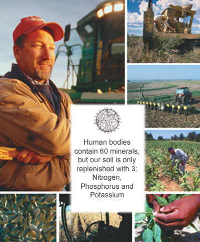 Human bodies contain 60 minerals, but our soil is only replenished with 3