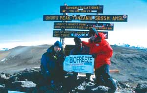 BioFreeze is the co-sponsor for Prostrate Cancer climb to top of Mt. Kilimanjaro